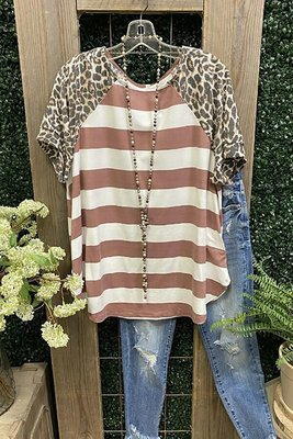 2021 Ladies Top Leopard Print Short Sleeve Striped Stitching Round Neck T-Shirt Loose Top