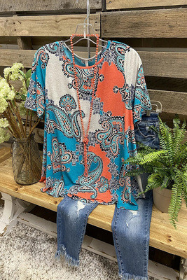 2021 Ladies Top Short Sleeve Round Neck Pea Flower Colored T-Shirt