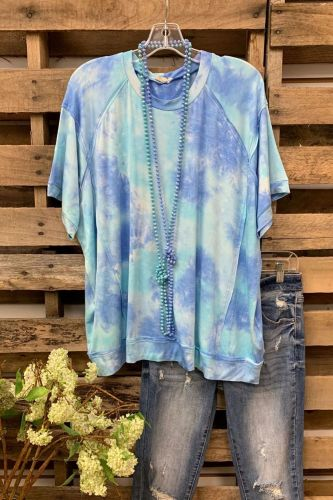 Ins 2021 Women'S Casual Tie-Dye Printed Short-Sleeved Loose T-Shirt