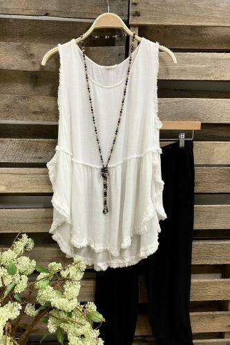 2021 Ladies Sleeveless Cotton Linen Washed Frayed Vest