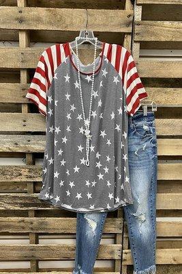 2021 Women's Top Short Sleeve Striped Stitching Star T-Shirt