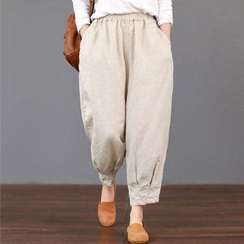 2021 Summer Trousers Women Pockets Solid Loose Elastic Waist Harem Pants Cargo Baggy Cotton Linen Pantalon Plus Size