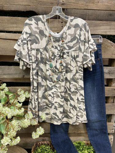 Ins 2021 Summer Women'S Style Round Neck Short Sleeve Camouflage T-Shirt