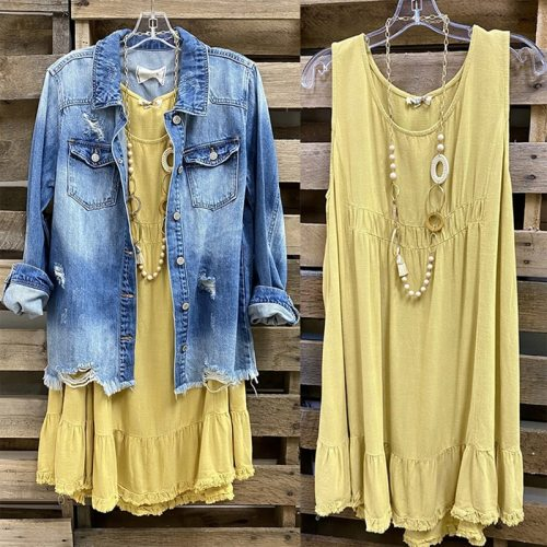 Ins 2021 Ladies Basic Dress Sleeveless Short Stitching U-neck T-shirt SDess