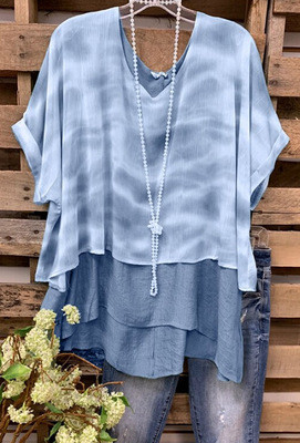 2021 Ladies Tie-Dye Multi-Layer Stitching Short-Sleeved T-Shirt