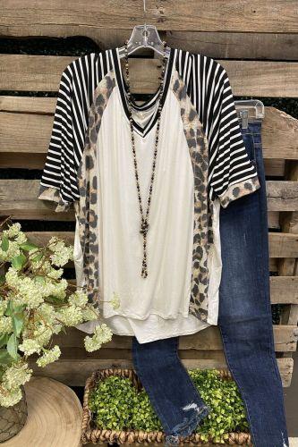 2021 Ladies Top Striped + Leopard Pattern Stitching Round Neck Short Sleeve T-Shirt