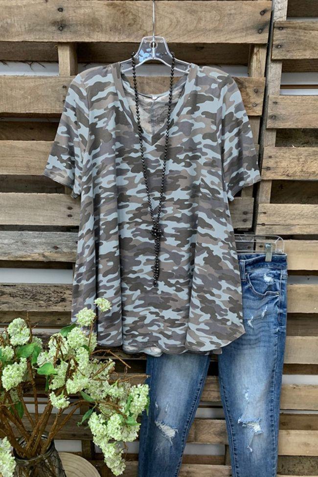Spring Summer Women's Top Printed Camouflage Round Neck Short Sleeve Shirt