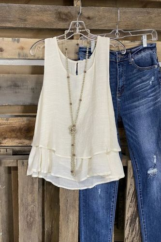 2021 Ins Ladies Casual Vest Fake Two Double-Layer Cotton And Linen Sleeveless T-Shirt
