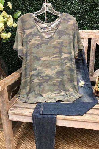 Ins 2021 Ladies Camouflage Neckline Cross Design Short Sleeve T-Shirt