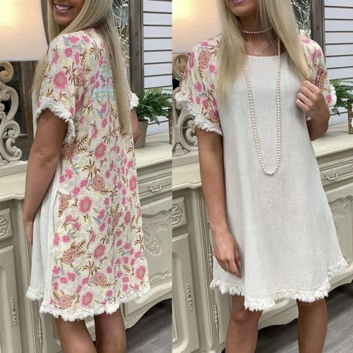 2021 Women Cotton and Linen Floral Stitching Round Neck Short-sleeved Fashion Dress Summer Lady Dress