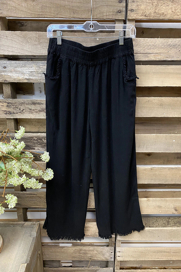 2021 Ladies Spring/Summer Ladies Cropped Pants Cotton Linen Wide Leg Pants Casual Pants