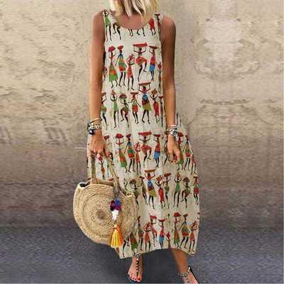 2021 Summer Women Dress Vintage Printed Sleeveless Sundress Tanks Vestido Sarafans Loose Cotton Linen Dresses Robe Femme