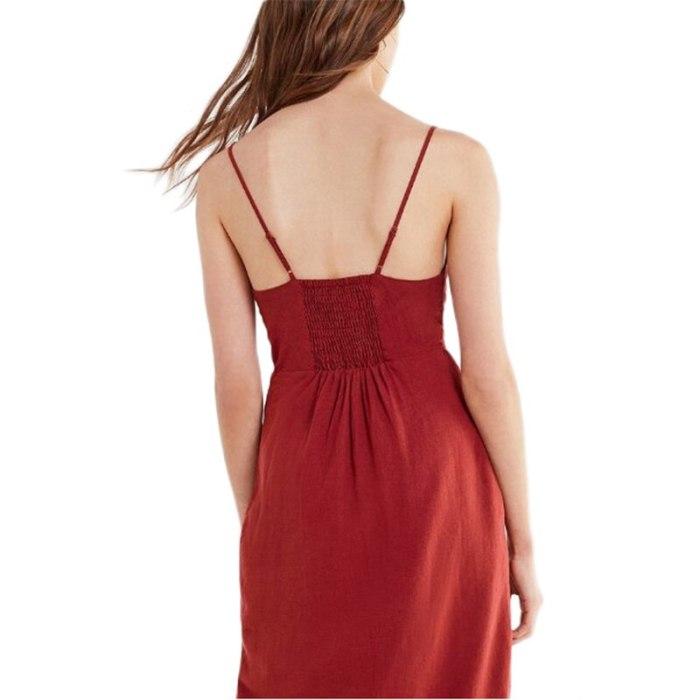 Hollow out strap maxi dress women Causal backless summer dress female Button bow white dresses sexy beach dress