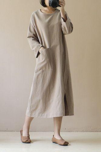 S-5XL Loose Cotton Linen Women Midi Dress Casual Long Sleeve Split Female Spring Autumn Robe Pocket Sudress Plus Size 120850WLA