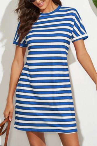 loose Dress short Sleeve Elegant Empire O-neck striped dresses woman casual summer streetwear cloth Women Basic Vestidos AC0034