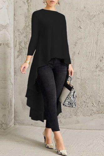 T-Shirt Women Long Sleeve Loose Asymmetry T-Shirt Round Neck Tunic T-Shirt Irregular Tops Fashion Laides T-shirt