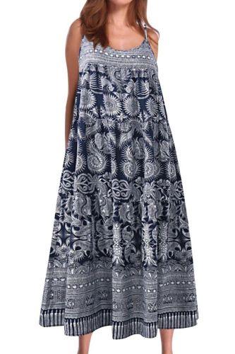 Plus size dress apparel Women Boho Sleeveless Floral Print Spaghetti Straps Large Hem Loose Long Dress