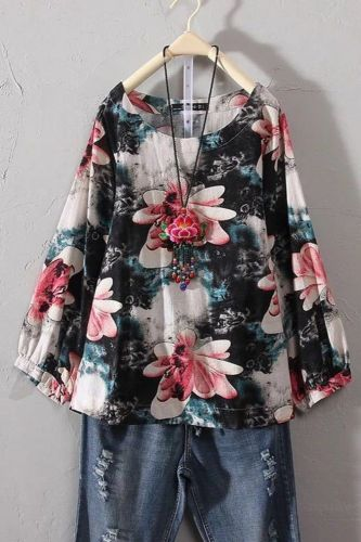 Long Sleeve Round Collar Casual Party Work Blouse Women Vintage Loose Spring Autumn Elegant Ladies Printed Cotton Linen Top