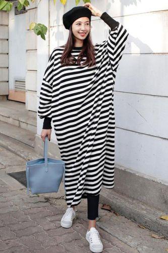 1pc Fashion Women Dress Casual Stripe Loose Slits Round Neck Long Sleeve Pullover Shirt Maxi Dress Long Section Women's Dress