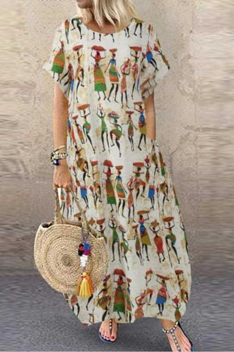 Women's Maxi Dress Printed Sundress Casual Short Sleeve 2021 Fashion Summer Vestidos Female High Waist Robe Femme Plus Size