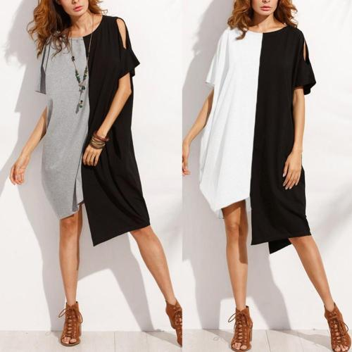 Casual Women Dual Color Cutout Short Sleeve Round Neck Asymmetric Midi Dress women casual dresses  ladies clothing