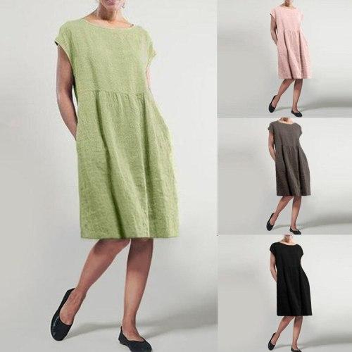 Women's Summer Sundress 2021 Elegant Pleated Dress Casual Short Sleeve Knee Length Vestidos Female Solid Robe Plus Size