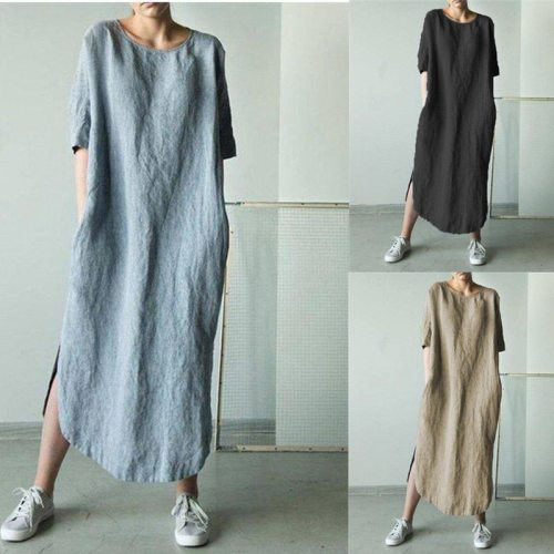 Women Mid-sleeve Split Dress Casual Loose Round Neck Sexy Maxi Long Dress Spring Summer Fashion Party Solid Color Dress Dropship