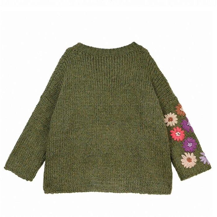 Neploe Pull Femme Floral Embroidery Pullover Women Sweater 2021 Sexy Strapless Bat Knitted Top Green Causal Loose Knitwear 56658