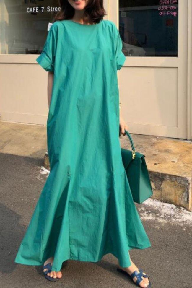 Elegant Hollow Summer Dress Women's Solid Maxi Sundress Casual Short Sleeve Long Vestidos Female O Neck Robe Plus Size