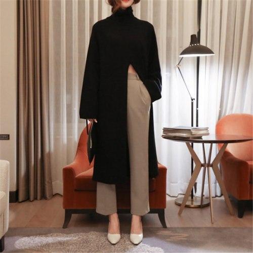 2021 Korea Turtleneck Women Sweet High Waist Stylish Solid Brief Chic Streetwear Feminine Long Split Slender Sweaters
