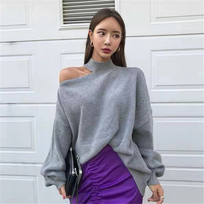 Halter Bare Shoulders Knitted Office Ladies Winter Autumn Loose Irregular Casual Elegant High Street Sweaters Tops