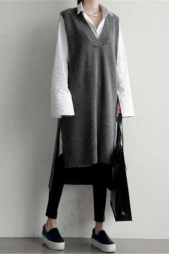 2021 Korean INS wind sweater vest short front and back long vest skirt knitted V-neck thickened mid-length sweater skirt