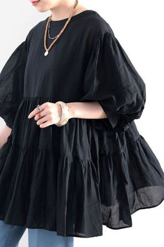 New Oversize Shirt Half Sleeve Round Neck Ruffled Women Solid Color Lantern Sleeve Pullover Button Up Shirt Camisas Mujer
