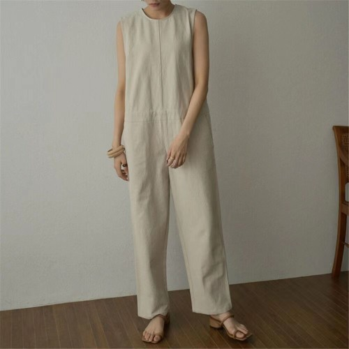 Japanese 2021 summer new solid color cotton and linen loose-breasted sleeveless jumpsuit