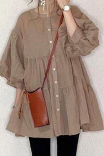 Thin Ruffles Blouse Women Button Up A Line Korea Japanese Style Kawaii Puff Sleeve Tops Female Oversized Long Shirt Dress