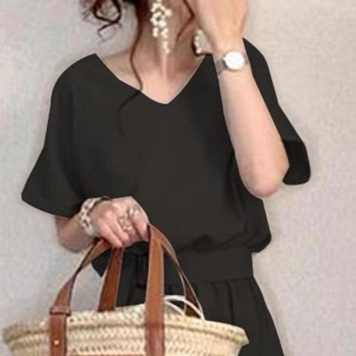 2021 Summer New Japanese Korean Waist Waist Thin Simple Black Long Dress Casual Loose Wild Temperament Women Dress Free Shipping