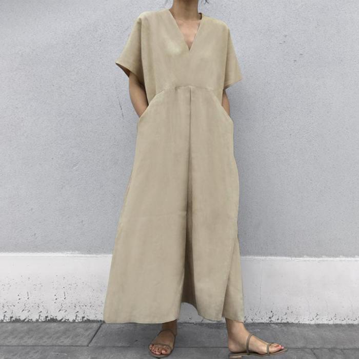 Spring Summer Women New Korean Loose Plus Size Casual Short Sleeve Dress Plus Size 5XL