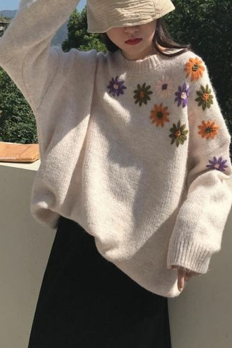 Vintage Embroidery Sweater Pullover Women Autumn Winter Korean Fashions O-Neck Loose Sweaters Knit Jumper Oversized Sueter Mujer