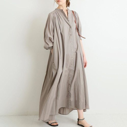 Japanese Spring New Puff Sleeve Button Loose Dress Female Women Solid  Color Women Dresses Hot 2021 Summer Spring Female Dress