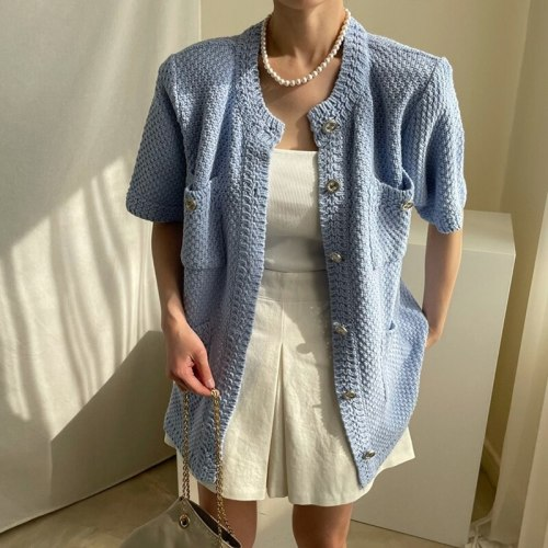Knitted Solid Thin Cardigan Women 3 Colors Vintage Single Breasted O Neck Short Outwear Elegant Loose Cardigan 2021 New