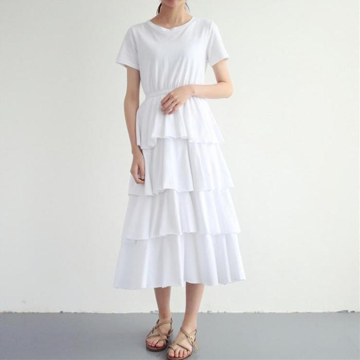 2021 summer fashion New preppy style Women high waist Cake Short Sleeve slim Long Dress