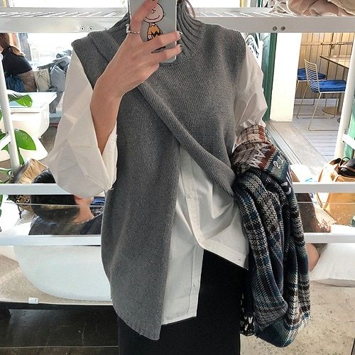 New Loose Sleeveless Sweater Spring Autumn Women Vest Sweaters Knitting Joker Knitted Vests Wool Oversize Pullover