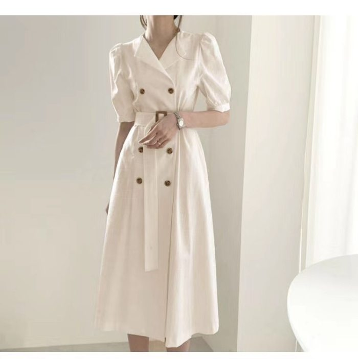 New 2021 Women Summer Dress 4 Colors High Waist Double Breasted Puff Sleeve Casual Lace up Elegant Long Dress