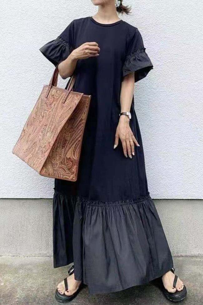 Japanese Women Dress Puff Sleeve 2021 Summer Ruffle Black Slim O-Neck A Line  Half Sleeve Loose Casual High Waist Dresses