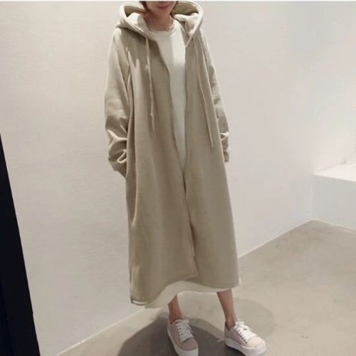 2021 Winter New Korean Hooded Collar Loose Soild Color Women Coats Casual Zippers 4 Colors Pockets Trench