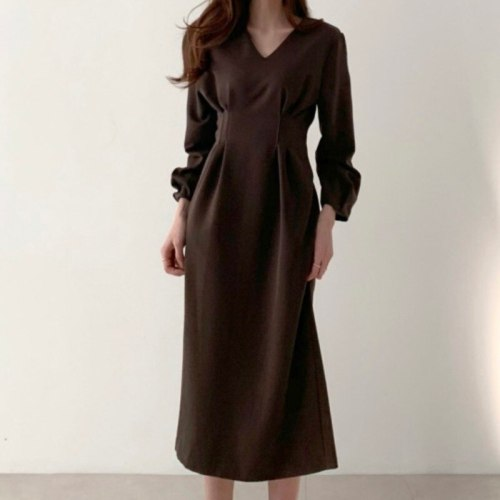 Spring and Autumn Women Clothing French Pleated Slim Slimming Mid-length Dress Vintage Solid  Puff Sleeve Empire Club SML