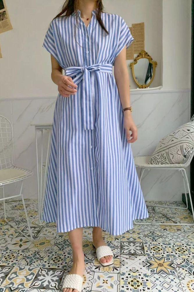 Striped Casual Dress For Women V Neck Short Sleeve High Waist Belt Designer Hit Color Dresses Female Summer 2021 Tide
