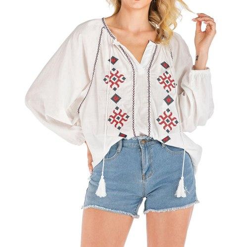2021 Women Summer Plus Size Loose Blouse Vintage Floral Embroidery Lantern Long Sleeve Shirt Female O Neck Casual Boho Tops