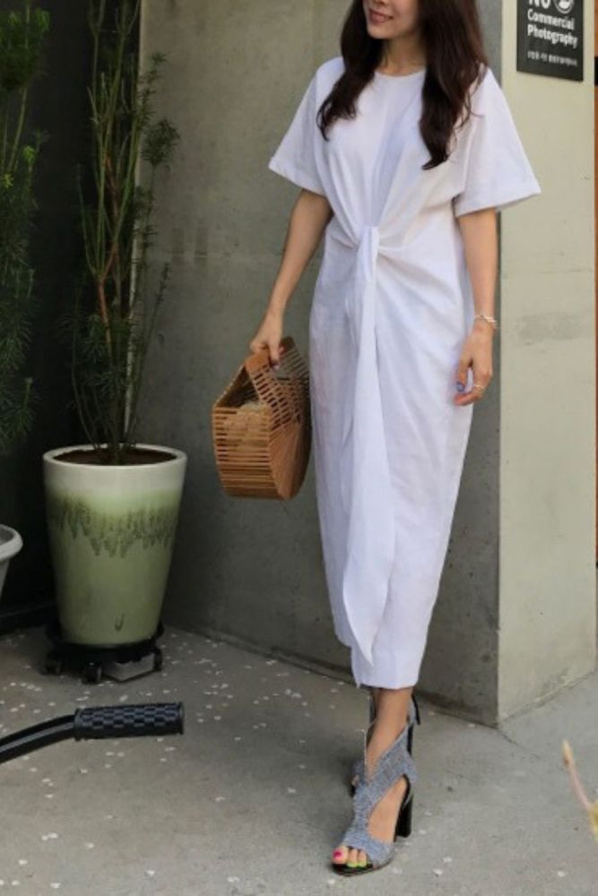 Women's Summer White Cotton Short Sleeve Bandage Bodycon Sexy Dress Plus Size Solid Mid Calf Long Casual