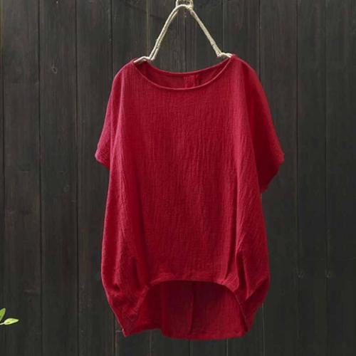 T Shirt Women Summer Art Leisure Outwear Loose Casual Solid Color Irregular Hem Comfort Tee Shirt Femme